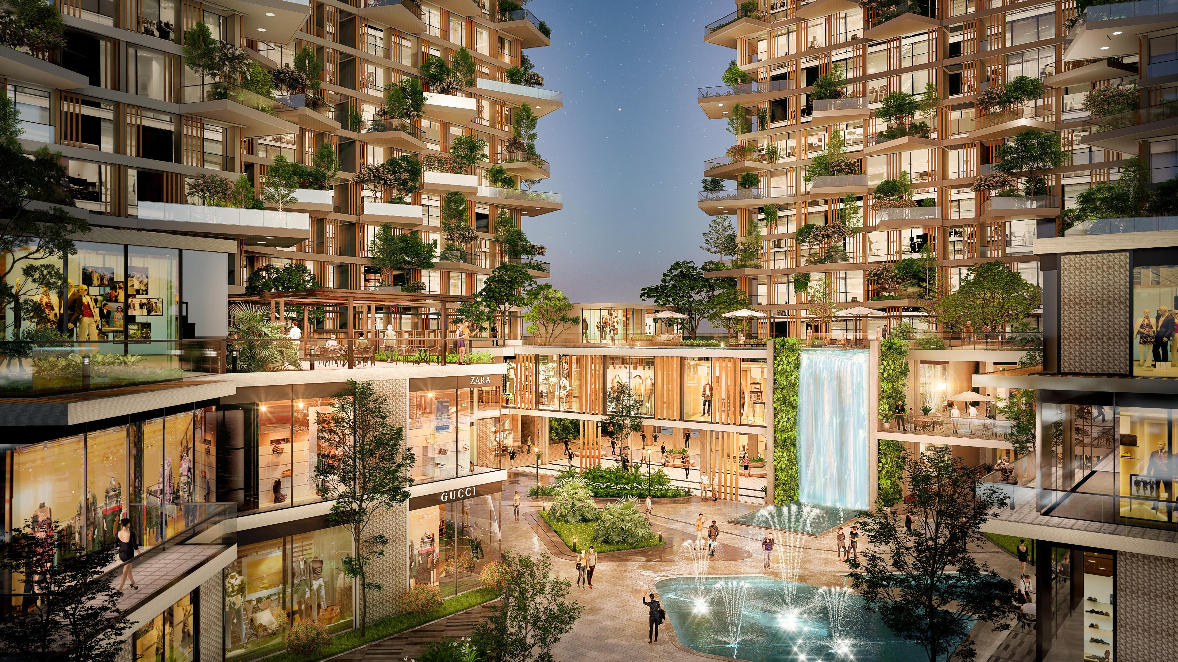 Quảng trường Resort trung tâm với phố đi bộ, công viên & hồ nước cùng các dãy phố TTTM sầm uất